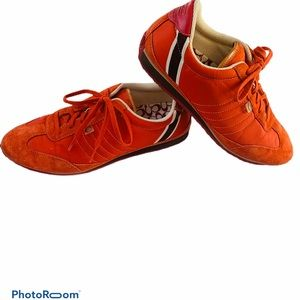 Coach Orange & Pink Suede & Polyester Sneakers 8